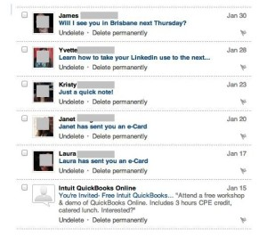 Example of linkedin inbox spam